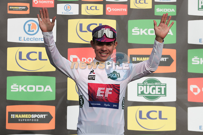 Sergio Andre Higuita (COL) EF Pro Cycling retains the young riders White Jersey on the podium at the end of Stage 5 of the 78th edition of Paris-Nice 2020, running 227km from Gannat to La Cote-Saint-Andre, France. 12th March 2020.<br /> Picture: ASO/Fabien Boukla | Cyclefile<br /> All photos usage must carry mandatory copyright credit (© Cyclefile | ASO/Fabien Boukla)