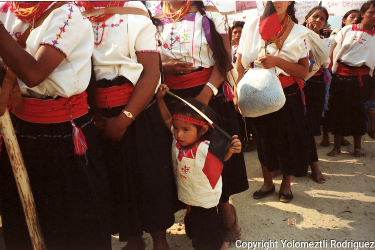 Zapatista children stage a rally to support their Zapatista National Liberation Army (EZLN) during the peace talks with Mexican government in San Andres Larrainzar, in southern state of Chiapas, April 21, !995. Photo by Yolomeztli Rodriguez