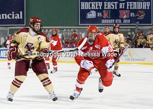 Barry Almeida (BC - 9), Vinny Saponari (BU - 27) (Bonino, CCohen, Hayes) - The Boston University Terriers defeated the Boston College Eagles 3-2 on Friday, January 8, 2010, at Fenway Park in Boston, Massachusetts, as part of the Sun Life Frozen Fenway doubleheader.