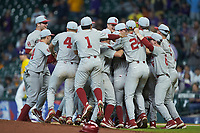 The Oklahoma Sooners mob starting pitcher Dane Acker (28) after he pitched a no-hitter against the LSU Tigers in game seven of the 2020 Shriners Hospitals for Children College Classic at Minute Maid Park on March 1, 2020 in Houston, Texas. The Sooners defeated the Tigers 1-0. (Brian Westerholt/Four Seam Images)