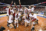 KANSAS CITY, MO - DECEMBER 16: The University of Nebraska celebrates with the national championship trophy during the Division I Women's Volleyball Championship held at Sprint Center on December 16, 2017 in Kansas City, Missouri. (Photo by Jamie Schwaberow/NCAA Photos via Getty Images)