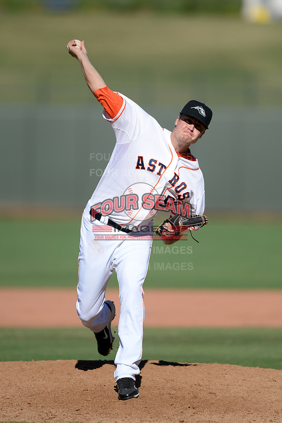 Peoria Javelinas pitcher Jonas Dufek (50), of the Houston Astros organization, during an Arizona Fall League game against the Mesa Solar Sox on October 16, 2013 at Surprise Stadium in Surprise, Arizona.  Mesa defeated Peoria 3-1.  (Mike Janes/Four Seam Images)