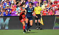 Orlando, FL - Saturday October 14, 2017: Hayley Raso, Abby Erceg during the NWSL Championship match between the North Carolina Courage and the Portland Thorns FC at Orlando City Stadium.