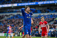 Sean Morrison of Cardiff City rues a miss during the Sky Bet Championship match between Cardiff City and Middlesbrough at the Cardiff City Stadium, Cardiff, Wales on 17 February 2018. Photo by Mark Hawkins / PRiME Media Images.
