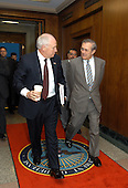 U.S. Secretary of Defense Donald H. Rumsfeld escorts Vice President Dick Cheney into the Pentagon on April 8, 2003.  Cheney will attend an operational update briefing on the progress of Operation Iraqi Freedom with Rumsfeld, representatives of the Joint Chiefs of Staff and other senior Department of Defense officials. Vice President Cheney served as Secretary of Defense during Gulf War I in 1991.<br /> Mandatory Credit: Robert D. Ward / DoD via CNP