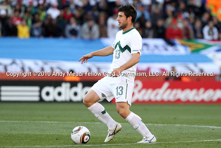 18 JUN 2010: Bojan Jokic (SVN). The Slovenia National Team played the United States National Team to a 2-2 at Ellis Park Stadium in Johannesburg, South Africa in a 2010 FIFA World Cup Group C match.