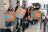 The Harker School - US - Upper School - HIP - Harker Influenza Project - Students prepare, build and dsitribute HIP motes and materials collection boxes...2012-01-20...Photo by Kyle Cavallaro