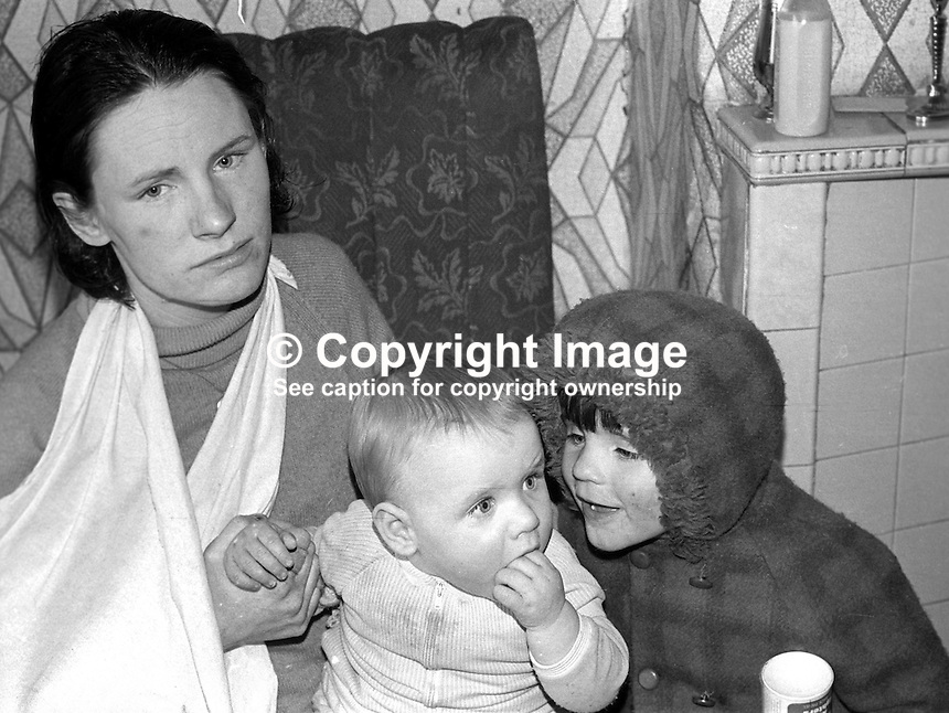 Mrs Philomena McGucken, a Belfast, N Ireland, housewife, who was tarred and feathered and beaten with sticks by the Provisional IRA for alleged drugs offences in Ballymurphy, April, 1972. Three men were subsequently convicted and jailed for 3 years. 197204100171..Copyright Image from Victor Patterson, 54 Dorchester Park, Belfast, United Kingdom, UK...For my Terms and Conditions of Use go to http://www.victorpatterson.com/Victor_Patterson/Terms_%26_Conditions.html
