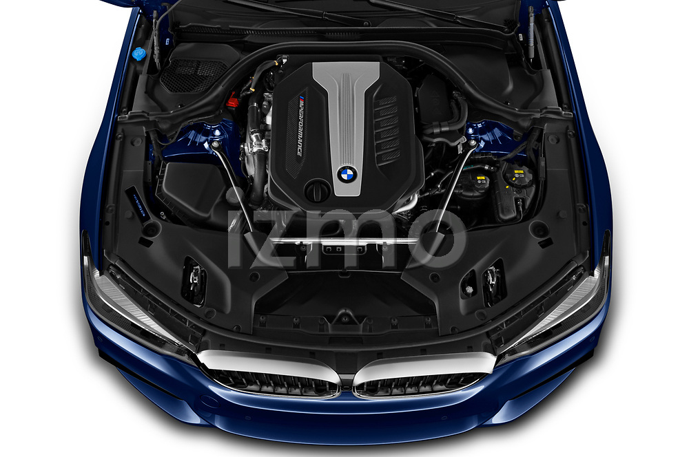 Car Stock 2019 BMW 5-Series - 5 Door Wagon Engine  high angle detail view