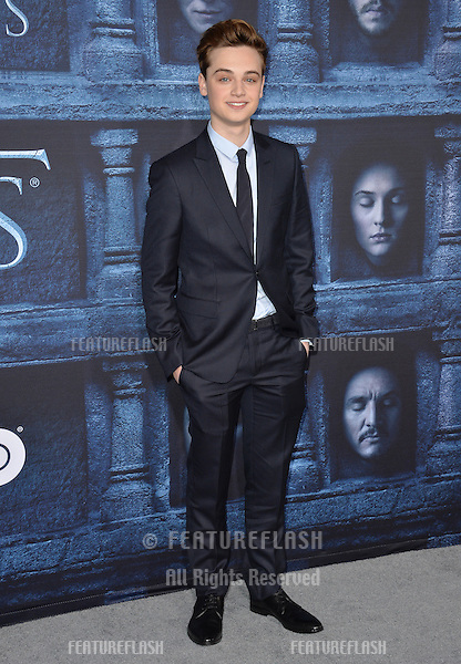 LOS ANGELES, CA. April 10, 2016: Actor Dean-Charles Chapman at the season 6 premiere of Game of Thrones at the TCL Chinese Theatre, Hollywood.<br /> Picture: Paul Smith / Featureflash