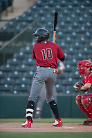 AZL Diamondbacks center fielder Kristian Robinson (10) at bat during an Arizona League game against the AZL Angels at Tempe Diablo Stadium on June 27, 2018 in Tempe, Arizona. The AZL Angels defeated the AZL Diamondbacks 5-3. (Zachary Lucy/Four Seam Images)