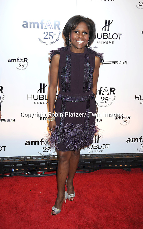 Deborah Roberts  attending the amfAR New York Gala on February 9, 2011 at Cipriani Wall Street in New York City. Dame Elizabeth Taylor, President Bill Clinton and Diane von Furstenberg were honored.