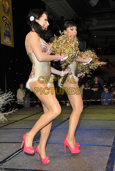 LONDON, ENGLAND - JANUARY 19: The Cheeky Girls ( Gabriela &amp; Monica Irimia ) at the Mad Hatter's Tea Party organised by the London Taxi Drivers' Fund to help underprivileged children, Grosvenor House Hotel, Park Lane, on Sunday January 19, 2014 in London, England, UK. <br /> CAP/CAN<br /> &copy;Can Nguyen/Capital Pictures
