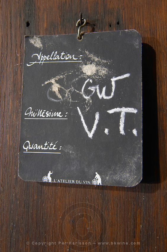 gewurztraminer vendange tardive sign on tank dom frederic mochel traenheim alsace france