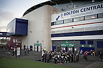A brass band playing for spectators outside the home supporters end at the Reebok Stadium, before Bolton Wanderers take on Liverpool in a Barclays Premier League game. The match was won by Bolton by 3 goals to 1, watched by a near-capacity crowd of 26,854. The win lifted Bolton out of the relegation places in England's top division, while Liverpool remained seventh.