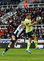 9th November 2019; St James Park, Newcastle, Tyne and Wear, England; English Premier League Football, Newcastle United versus AFC Bournemouth; Ryan Fraser of AFC Bournemouth blocks Jonjo Shelvey of Newcastle United volley - Strictly Editorial Use Only. No use with unauthorized audio, video, data, fixture lists, club/league logos or 'live' services. Online in-match use limited to 120 images, no video emulation. No use in betting, games or single club/league/player publications