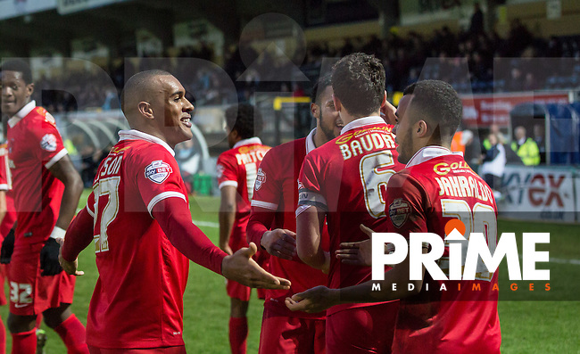 Goal scorers Jay Simpson (left) of Leyton Orient & Calaum Jahraldo-Martin (30) of Leyton Orient embrace following the 2nd goal during the Sky Bet League 2 match between Wycombe Wanderers and Leyton Orient at Adams Park, High Wycombe, England on 23 January 2016. Photo by Massimo Martino / PRiME Media Images.