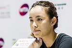 Qiang Wang of China talks to media after competed against Zhang Ling of Hong Kong at the singles first round match the WTA Prudential Hong Kong Tennis Open 2018 at the Victoria Park Tennis Stadium on 09 October 2018 in Hong Kong, Hong Kong.