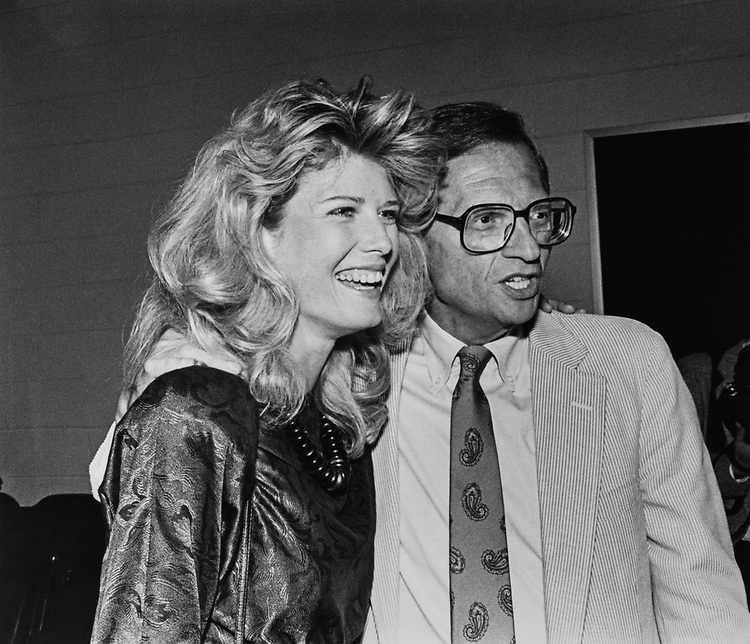 Secretary to Lt. Colonel Oliver North, Fawn Hall with Larry King. (Photo by Andrea Mohin/CQ Roll Call via Getty Images)