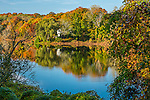 Fall foliage at Shawmee Pond in Sandwich, Cape Cod, Massachusetts, USA