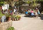 People eating ice cream at Roskilly's farm, near St Keverne, Lizard Peninsula, Cornwall, England, UK