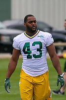 Green Bay Packers running back William Stanback (43) during an Organized Team Activity on May 23, 2017 at Clarke Hinkle Field in Green Bay, Wisconsin.  (Brad Krause/Krause Sports Photography)