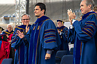 May 20, 2018; Judge Sérgio Moro acknowledges the crowd following his Commencement address at the 2018 Commencement ceremony. (Photo by Matt Cashore/University of Notre Dame)