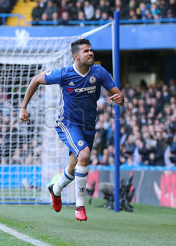 11.12.2016. Stamford Bridge, London, England. Premier League Football. Chelsea versus West Bromwich Albion. Chelsea Forward Diego Costa celebrates as he scores past West Brom Goalkeeper Ben Foster and celebrates, 1-0 Chelsea