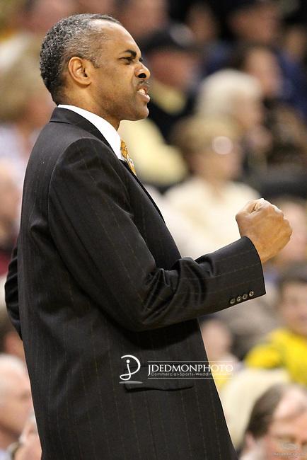 Georgia Tech Yellow Jackets head coach Paul Hewitt reacts to his Yellow Jackets hitting another three against Wake. Georgia Tech wins 80-54.