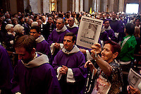 People attend a mass as they celebrate their new Pope Francis at the Metropolitan Cathedral in Buenos Aires March 17, 2013. Photo by Juan Gabriel Lopera / VIEWpress.