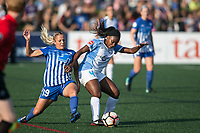 Allston, MA - Saturday August 19, 2017: Adriana Leon, Jamia Fields during a regular season National Women's Soccer League (NWSL) match between the Boston Breakers and the Orlando Pride at Jordan Field.