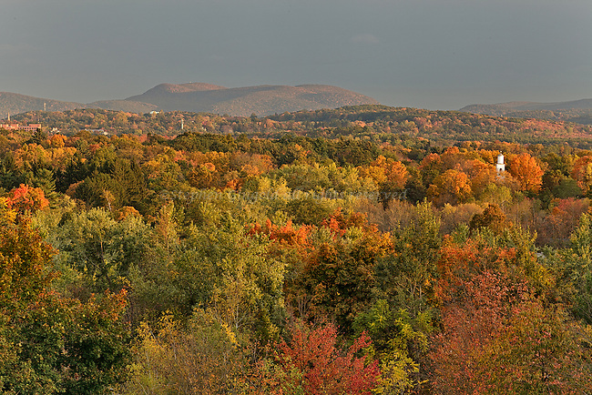 Amherst, Massachusetts in autumn colors as seen from Mount Pollux.
