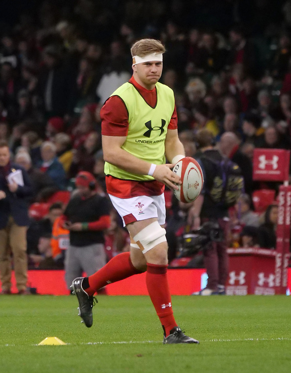 Wales' Aaron Wainwright during the pre match warm up<br /> <br /> Photographer Ian Cook/CameraSport<br /> <br /> Under Armour Series Autumn Internationals - Wales v South Africa - Saturday 24th November 2018 - Principality Stadium - Cardiff<br /> <br /> World Copyright © 2018 CameraSport. All rights reserved. 43 Linden Ave. Countesthorpe. Leicester. England. LE8 5PG - Tel: +44 (0) 116 277 4147 - admin@camerasport.com - www.camerasport.com