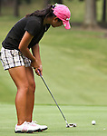Duramed Futures Tours' Christine Cho from Kent, Washington watched the ball leap over the 12th hole at Alliance Bank Golf Classic in Syracuse NY.
