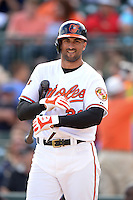 Baltimore Orioles outfielder Nick Markakis (21) during a spring training game against the Philadelphia Phillies on March 7, 2014 at Ed Smith Stadium in Sarasota, Florida.  Baltimore defeated Philadelphia 15-4.  (Mike Janes/Four Seam Images)