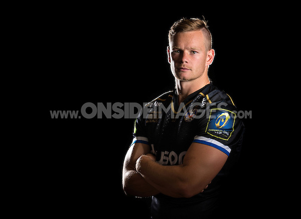Chris Cook poses for a portrait in the 2015/16 European kit during a Bath Rugby photocall on September 8, 2015 at Farleigh House in Bath, England. Photo by: Patrick Khachfe / Onside Images