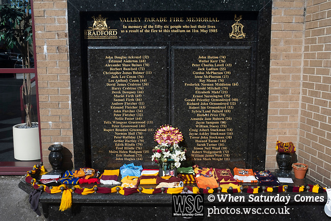 Bradford City 3, Carlisle United 1, 21/09/2019. Valley Parade, EFL League 2. The memorial to the victims of the fire in 1985 which destroyed part of the ground pictured before Bradford City played Carlisle United in a Skybet League 2 fixture at Valley Parade. The home team were looking to bounce back after being relegated during a disastrous 2018-19 season on and off the pitch. Bradford won the match 3-1, watched by a crowd of 14, 217. Photo by Colin McPherson.