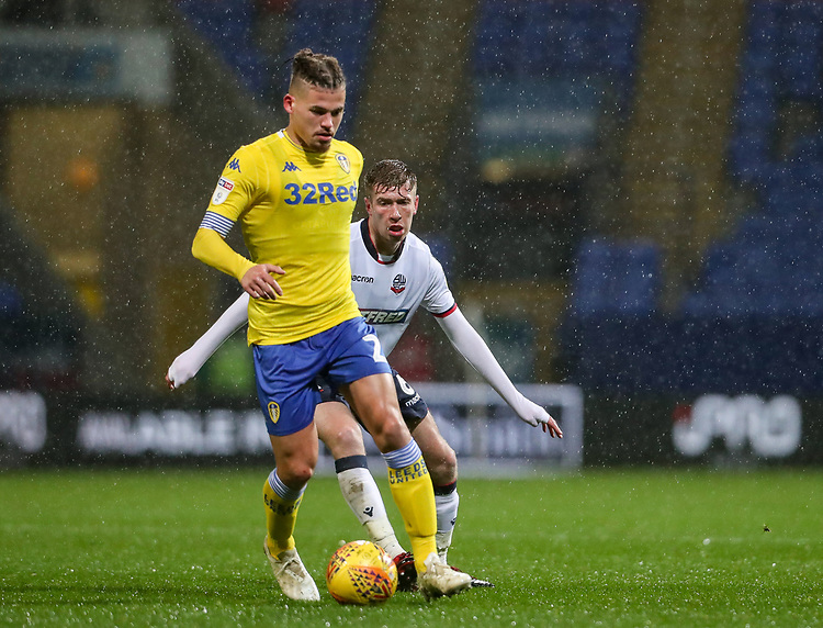 Bolton Wanderers' Josh Vela competing with Leeds United's Kalvin Phillips<br /> <br /> Photographer Andrew Kearns/CameraSport<br /> <br /> The EFL Sky Bet Championship - Bolton Wanderers v Leeds United - Saturday 15th December 2018 - University of Bolton Stadium - Bolton<br /> <br /> World Copyright © 2018 CameraSport. All rights reserved. 43 Linden Ave. Countesthorpe. Leicester. England. LE8 5PG - Tel: +44 (0) 116 277 4147 - admin@camerasport.com - www.camerasport.com