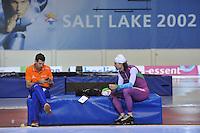 SCHAATSEN: SALT LAKE CITY: Utah Olympic Oval, 14-11-2013, Essent ISU World Cup, training, Gianni Romme (trainer/coach Team LiGA), Gerard van Velde (trainer/coach Team Beslist.nl), ©foto Martin de Jong