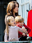 16-04-2014 Balcony 74th birthday of the Danish Queen at Marselisborg Castle in Aarhus.<br /> Princess Mary and Prince Vincent and Princess Josephine.<br /><br /> <br /> <br /> <br /> Credit: PPE/face to face<br /> - No Rights for Netherlands -