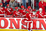 Wisconsin Badgers celebrate a goal during an NCAA Women's College Hockey game against Lindenwood University Lions on September 23, 2011 in Madison, Wisconsin. The Badgers won 11-0. (Photo by David Stluka)