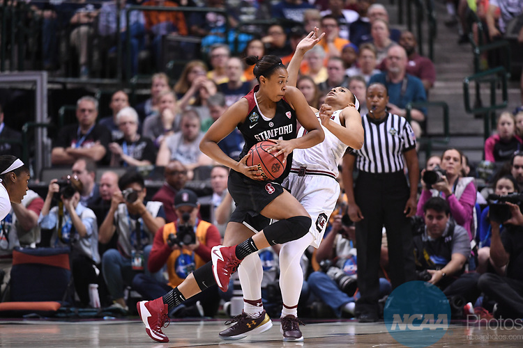 DALLAS, TX - MARCH 31:  Erica McCall #24 of the Stanford Cardinal during the 2017 Women's Final Four at American Airlines Center on March 31, 2017 in Dallas, Texas. at American Airlines Center on March 31, 2017 in Dallas, Texas. (Photo by Ben Solomon/NCAA Photos via Getty Images)