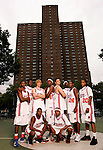 """The Goat"" squad on September 1, 2006 at Rucker Park in New York, New York.  Pictured standing left to right are Dexter Strickland, Rick Jackson, Kyle Singler, Donte Greene, Kevin Love, J.J. Hickson, Corey Stokes and Chris Allen.  Pictured squatting are Erving Walker and Brandon Jennings.  The players were in town for the Elite 24 Hoops Classic, which brought together the top 24 high school basketball players in the country regardless of class or sneaker affiliation."