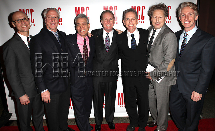 Will Cantler, Robert Lupone, Lawrence D. Cohen, Michael Gore, Dean Pitchford, Bernie Telsey & Blake West .attending the 'MISCAST 2012' MCC Theatre's Annual Musical Spectacular at The Hammerstein Ballroom in New York City on 3/26/2012. © Walter McBride / WM Photography
