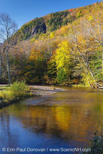 Crawford Notch State Park - Saco River in the White Mountains, New Hampshire USA during the autumn months.