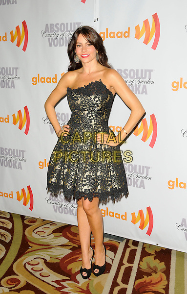 SOFIA VERGARA .arriving at the 21st Annual GLAAD Media Awards at the Hyatt Century Plaza Hotel in Century City, California, USA, April 17th, 2010..arrivals full length strapless black lace gold dress hands on hips peep toe shoes knotted christian Louboutin .CAP/ROT.©Lee Roth/Capital Pictures