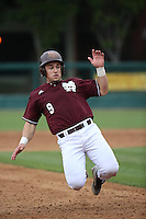 Elih Marrero (9) of the Mississippi State Bulldogs slides into third base during a game against the Southern California Trojans at Dedeaux Field on March 5, 2016 in Los Angeles, California. Mississippi State defeated Southern California , 8-7. (Larry Goren/Four Seam Images)