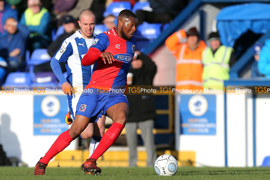 Morgan Ferrier of Dagenham and Ross Hannah of Chester during Chester vs Dagenham & Redbridge, Vanarama National League Football at the Lookers Vauxhall Stadium on 25th November 2017