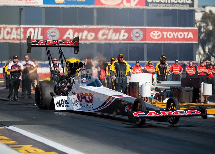 Feb 8, 2019; Pomona, CA, USA; NHRA top fuel driver Steve Torrence during qualifying for the Winternationals at Auto Club Raceway at Pomona. Mandatory Credit: Mark J. Rebilas-USA TODAY Sports