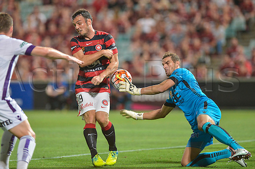 26.02.2016. Pirtek Stadium, Parramatta, Australia. Hyundai A-League. Western Sydney Wanderers versus Perth Glory. Perth goalkeeper Ante Covic saves from Wanderers forward Mark Bridge .